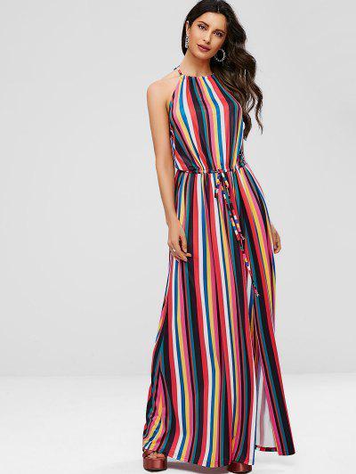 ZAFUL Halter Drawstring Striped Maxi Dress - Multi L ... 6f3aaebb2