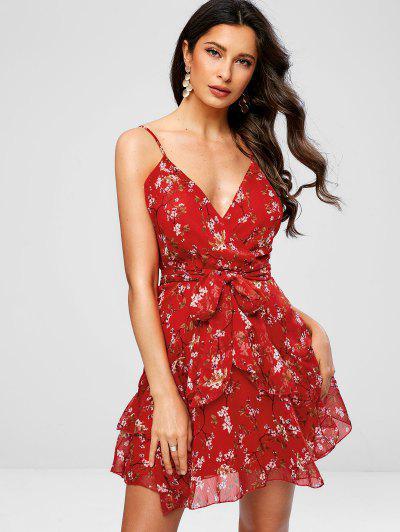 Babados Floral Surplice Cami Dress - Vermelho L
