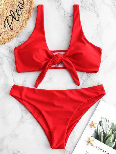ZAFUL Plunge Front Knot Bikini Set - Lava Red S