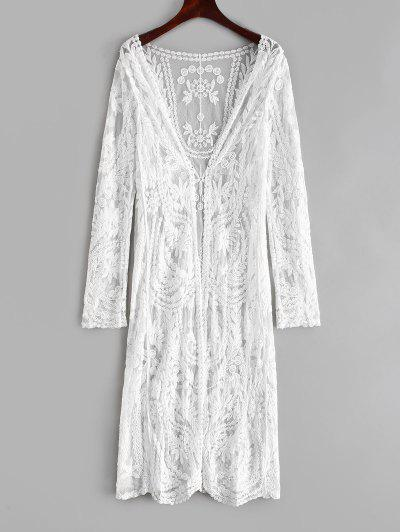dd4924f9cf2 Leaf Lace Collarless Longline Cover Up - White ...