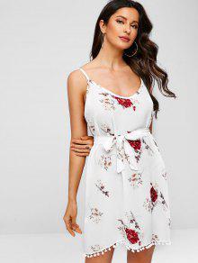 الكريات تنحنح الأزهار طباعة مربوط كامي اللباس - أبيض S