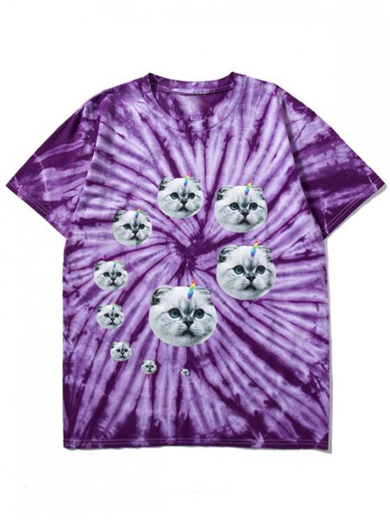 ladies Short Sleeves Cats Print Tie Dye T-shirt - PURPLE S
