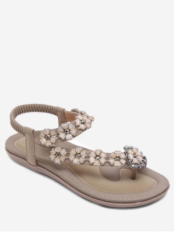 fashion Bohemian Style Rhinestone Floral Design Sandals - APRICOT EU 40