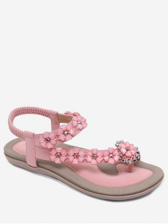 fancy Bohemian Style Rhinestone Floral Design Sandals - ORANGE PINK EU 39