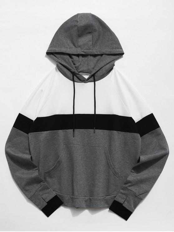 affordable Color Block Perforated Pocket Gym Hoodie - MULTI L