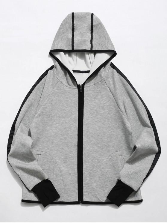 women Zip Up Contrast Gym Hoodie - GRAY L