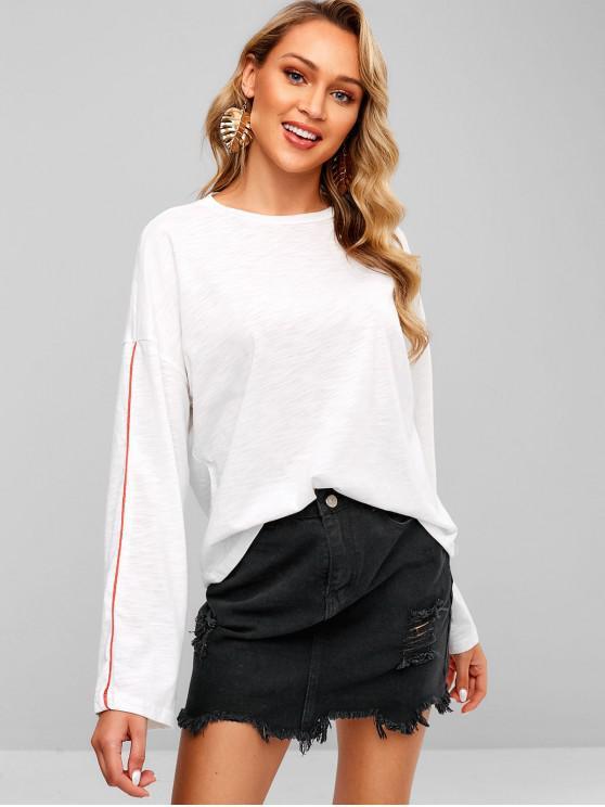 women Long Sleeve Oversized Slub Knit T-Shirt - WHITE M