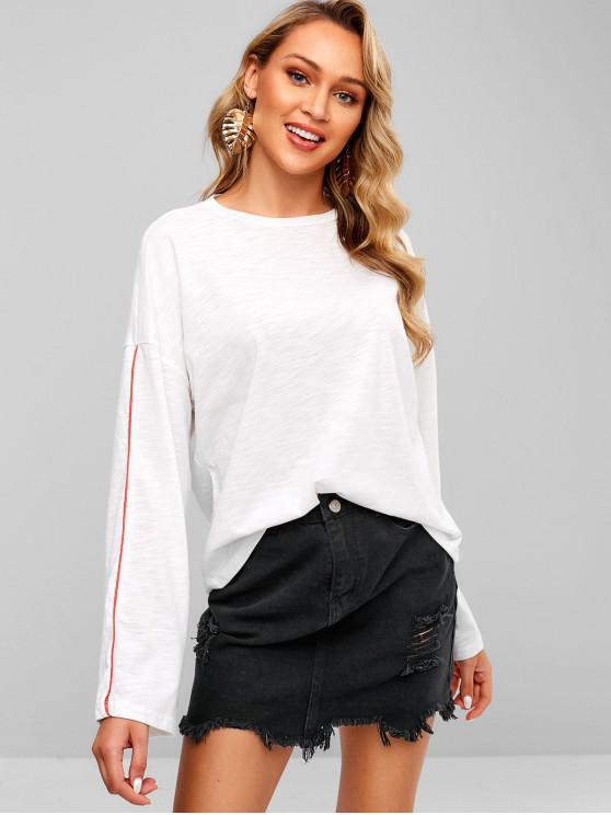 ladies Long Sleeve Oversized Slub Knit T-Shirt - WHITE S