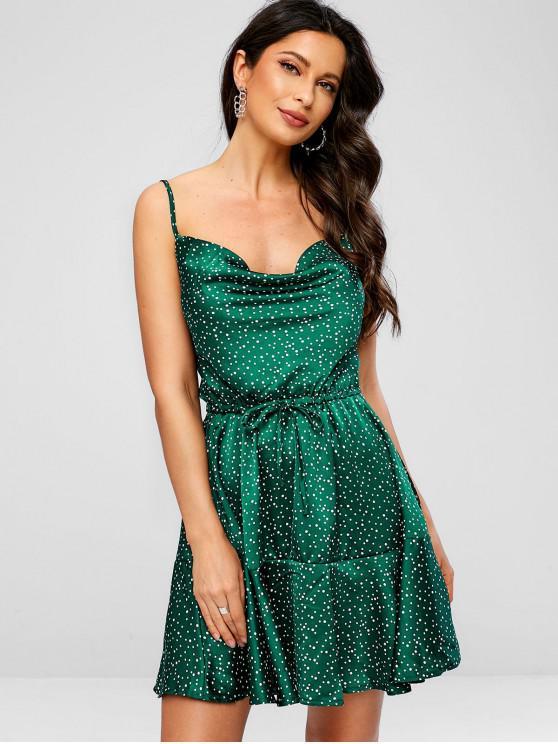 unique Polka Dot Drawstring Waist Cami Dress - GREEN L