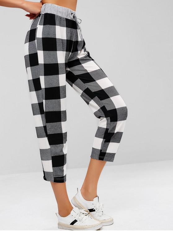 latest ZAFUL Checked Drawstring Waist Pants - MULTI L