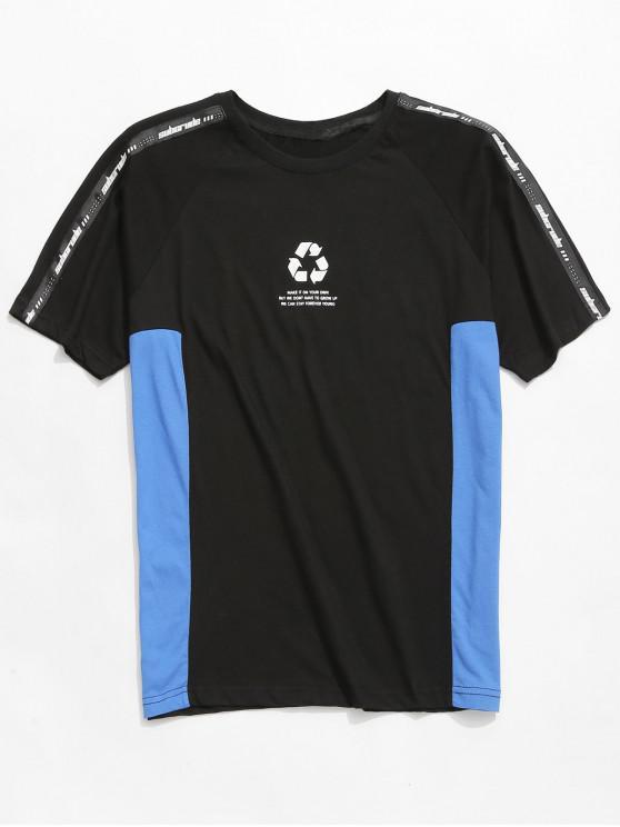 women's Logo Printed Raglan Sleeve T-shirt - BLACK 2XL