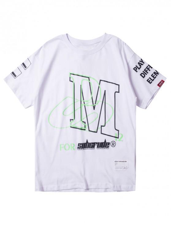 womens Label Embellish Letter Pattern T-shirt - WHITE 2XL