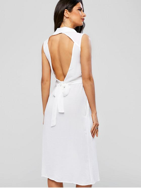 ladies Knotted Button Up Open Back Dress - WHITE L
