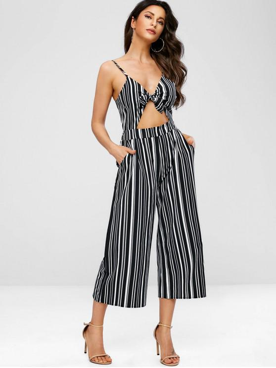ZAFUL Jumpsuit de perna larga listrada recortada - Multi S