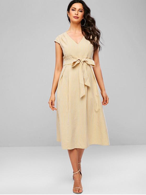 best ZAFUL Cap Sleeve Striped Keyhole Midi Dress - MULTI M