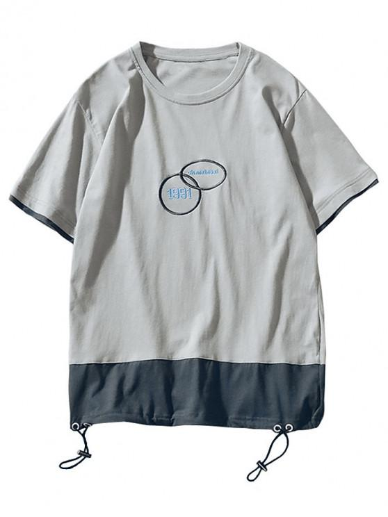 unique Drawstring Embroidered Contrast T-shirt - GRAY XL