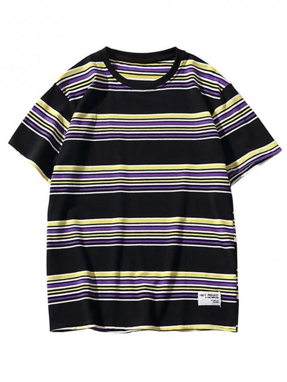 womens Casual Style Striped Pattern T-shirt - BLACK XL