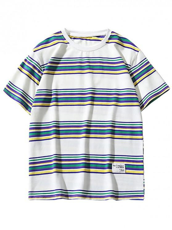 lady Casual Style Striped Pattern T-shirt - WHITE XL
