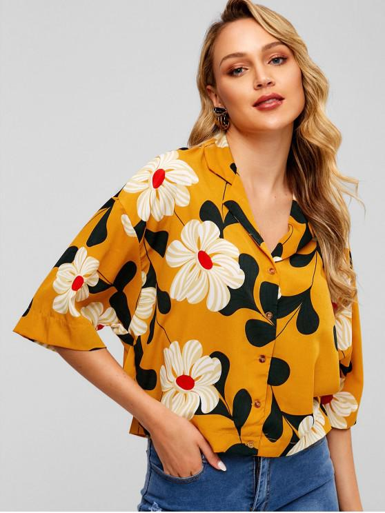 buy Button Up Floral Print Lapel Blouse - BEE YELLOW ONE SIZE