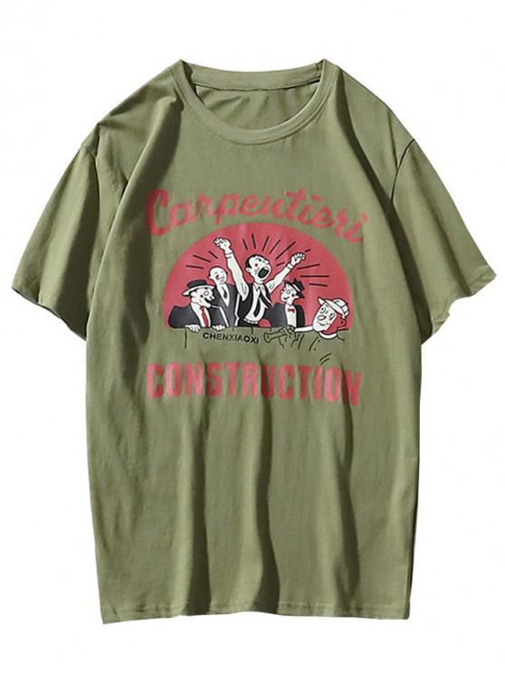 T-shirt da cópia da letra dos desenhos animados - Verde XL