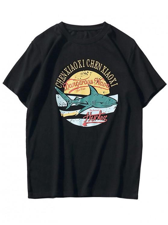 online Short Sleeve Shark Print T-shirt - BLACK XL