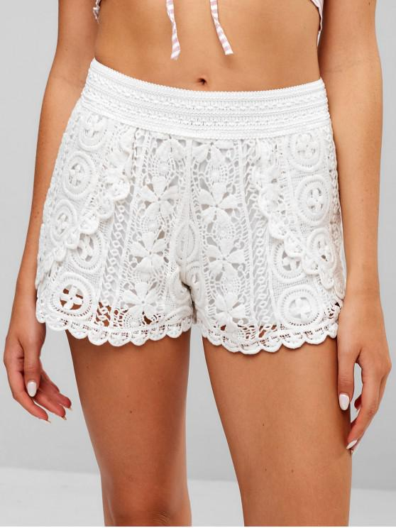18 Off 2019 Scalloped Crochet Shorts In White Zaful Europe