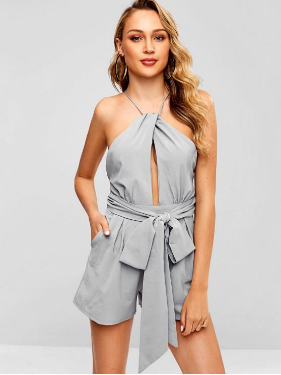 women Backless Cut Out Wide Leg Romper - LIGHT GRAY M