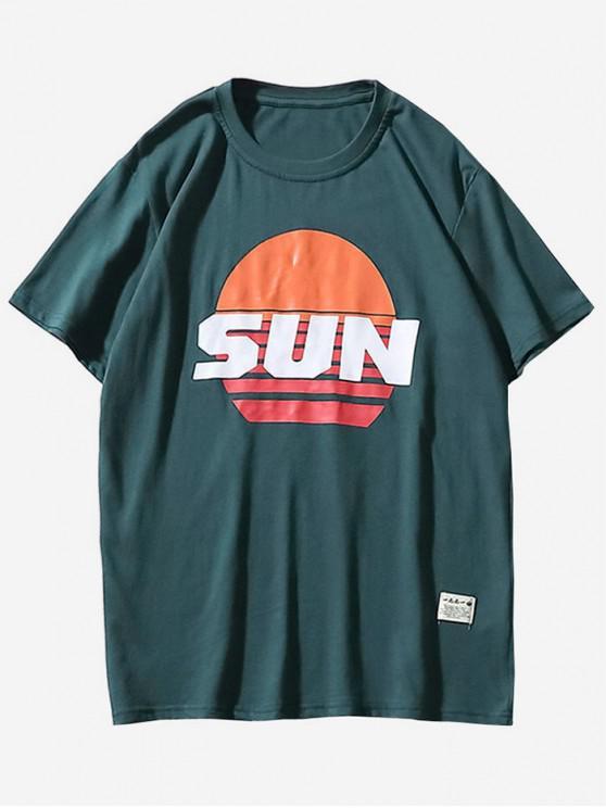 hot Sun Print Graphic T-shirt - MARBLE BLUE M