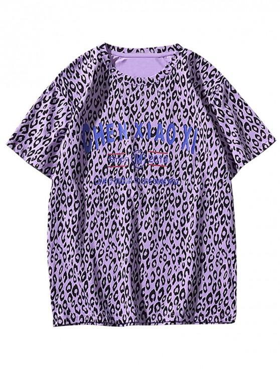 women Short Sleeve Leopard Print Slogan T-shirt - PURPLE SAGE BUSH L