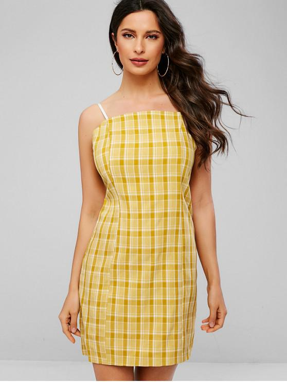 online ZAFUL Plaid Cami Mini Dress - GOLDENROD M