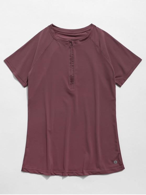 lady Perforated Half Zip Gym Tee - VELVET MAROON L