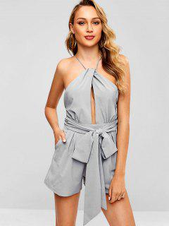Backless Cut Out Wide Leg Romper - Light Gray L