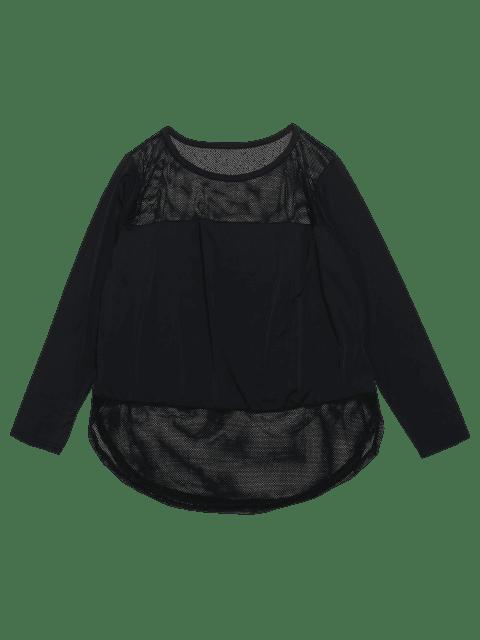 Sheer Slit Fishnet Panel Gym T-Shirt - Schwarz S Mobile