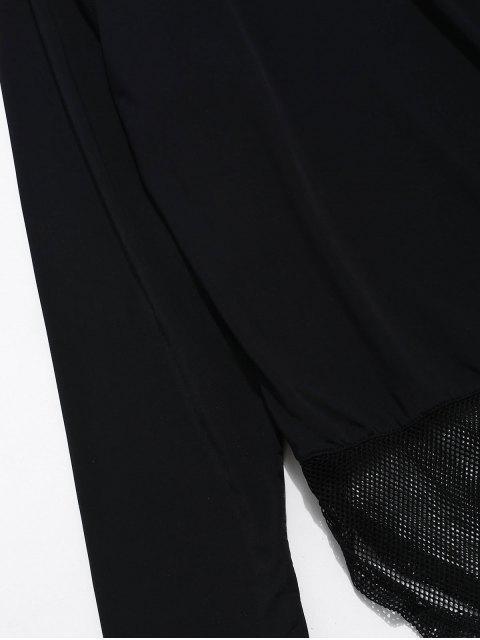 Sheer Slit Fishnet Panel Gym T-Shirt - Schwarz M Mobile