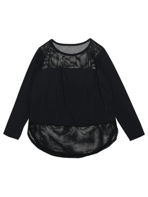 Sheer Slit Fishnet Panel Gym T-Shirt - Schwarz L Mobile