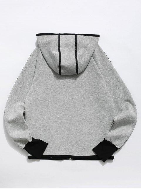 Zip Up Contrast Gym Hoodie - Gris L Mobile