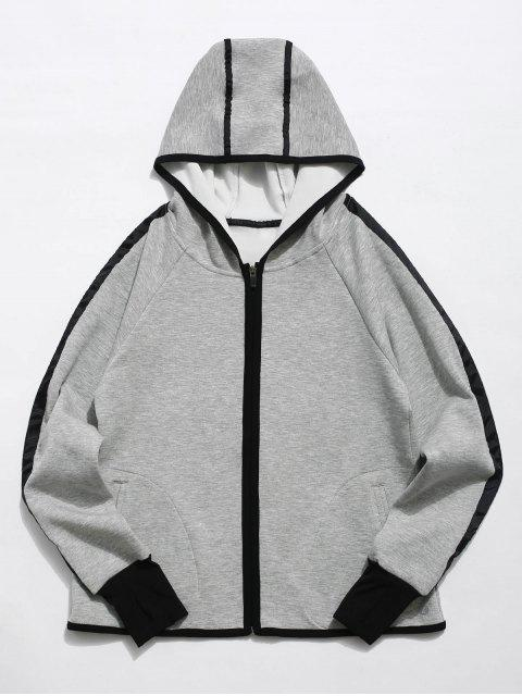 women Zip Up Contrast Gym Hoodie - GRAY L Mobile