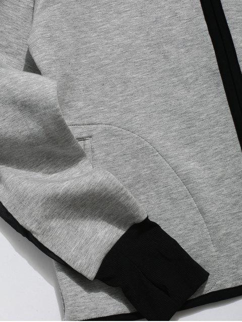 Kontrast-Kapuzenpullover mit Reißverschluss - Grau L Mobile