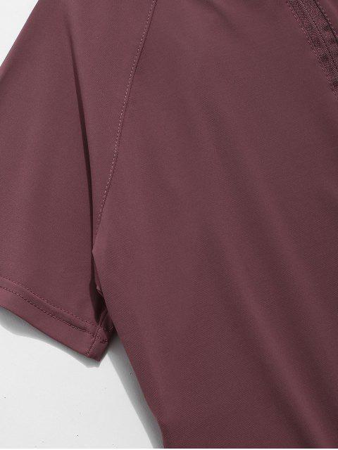Perforiertes Gymnastik-T-Shirt mit halbem Reißverschluss - Samt Kastanienbraun L Mobile