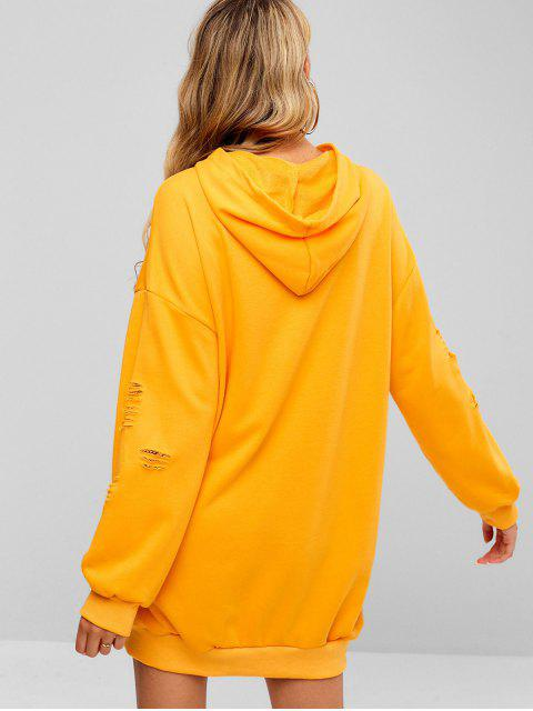 online Distressed Oversized Hoodie Dress - BRIGHT YELLOW S Mobile