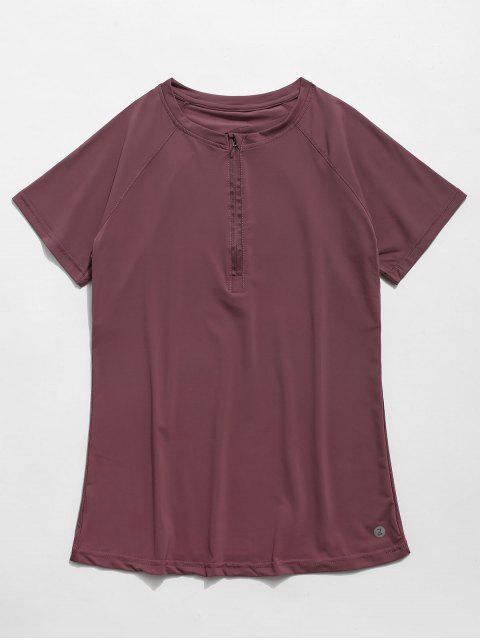 Camiseta de gimnasia con media cremallera perforada - Maroon de Terciopelo M Mobile