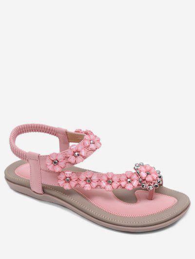 aec25fff34d79 Bohemian Style Rhinestone Floral Design Sandals - Orange Pink Eu 39