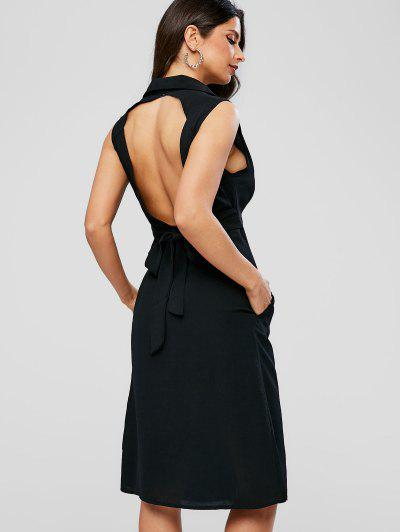 0db36f75859 Knotted Button Up Open Back Dress - Black M