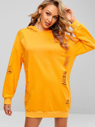 Distressed Oversized Hoodie Dress - Bright Yellow L