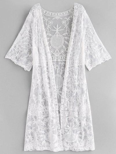 d947cd9c33 Embroidery Mesh See Thru Cover Up - White - White ...
