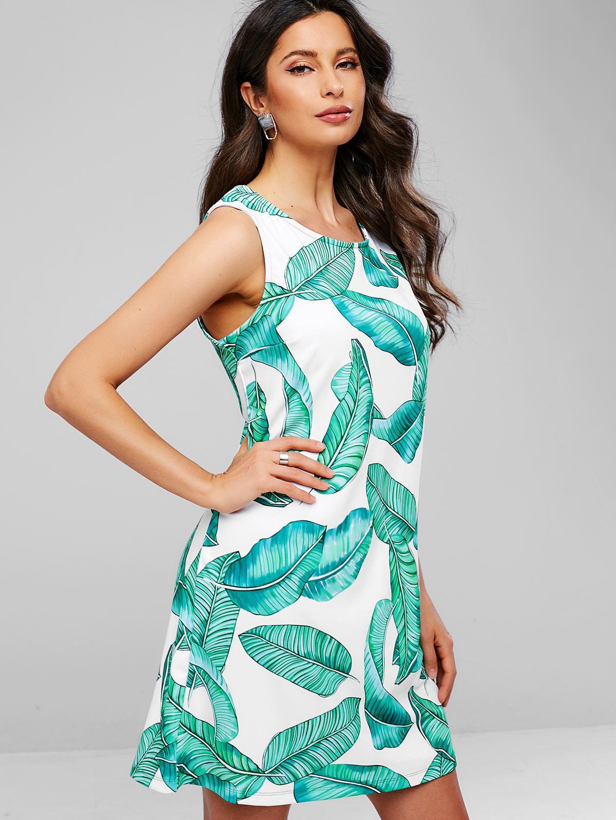 Leaves Print Sleeveless Mini Dress