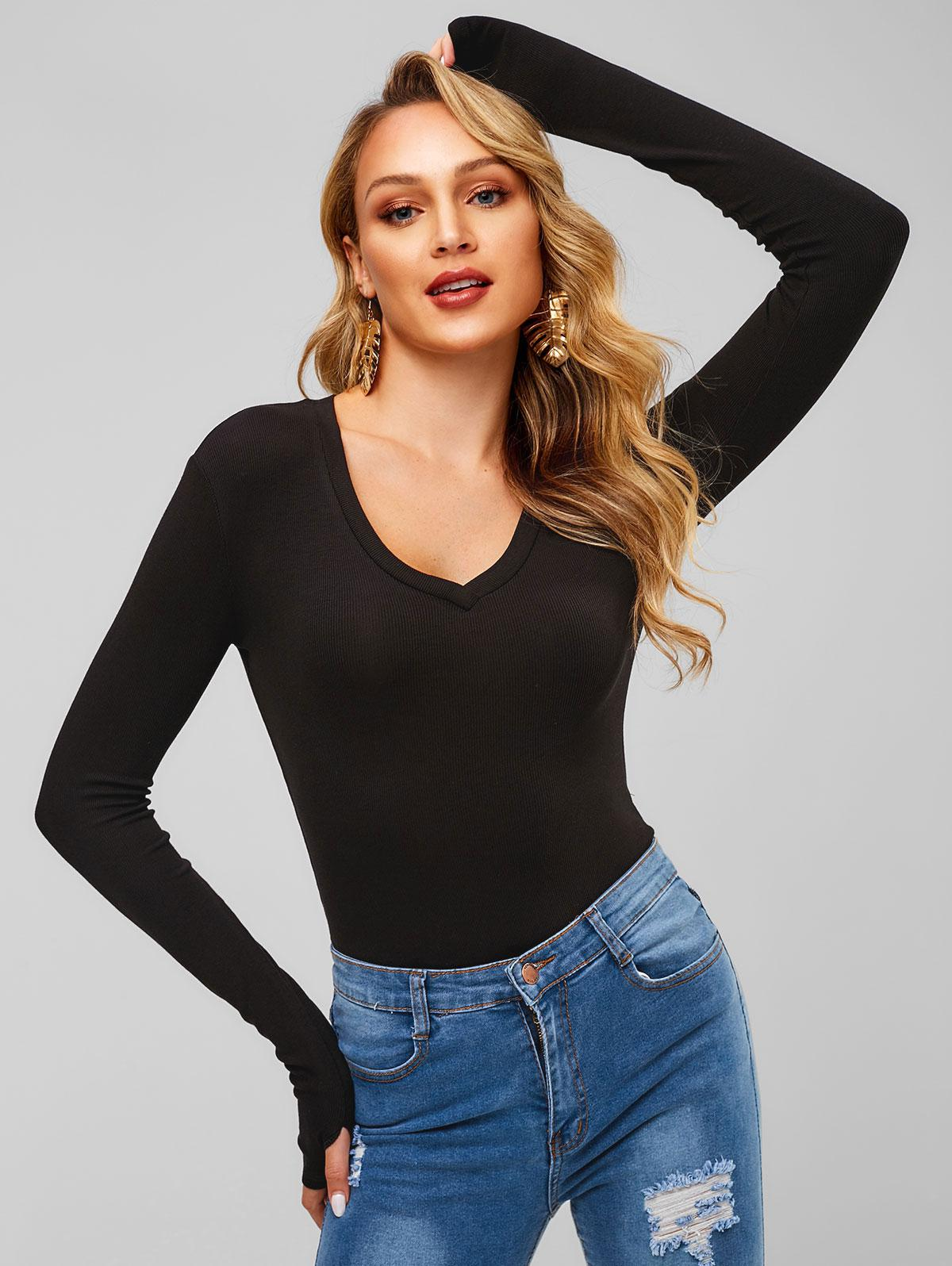 Long Sleeve V Neck Ribbed Bodysuit фото