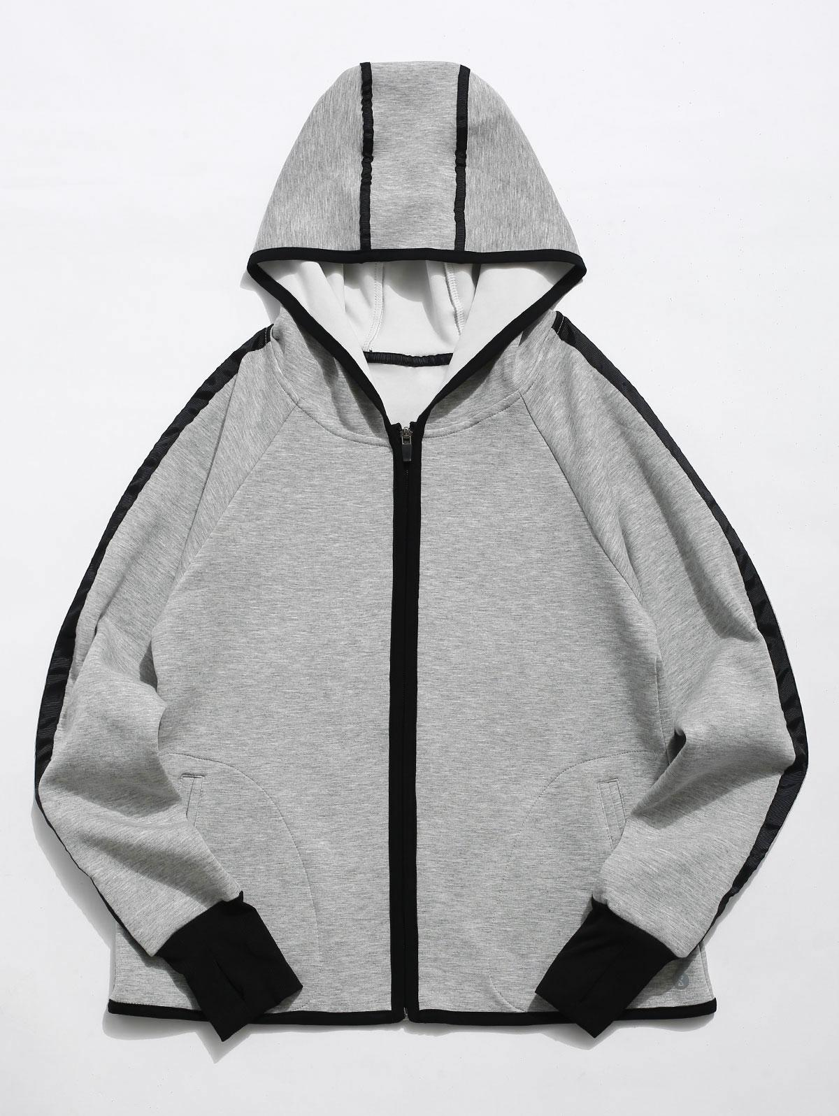 Zip Up Contrast Gym Hoodie, Gray