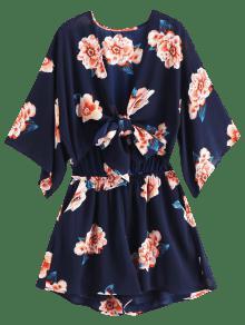 6c9a71f7cb57 30% OFF   HOT  2019 ZAFUL Tie Front Kimono Sleeve Floral Romper In ...