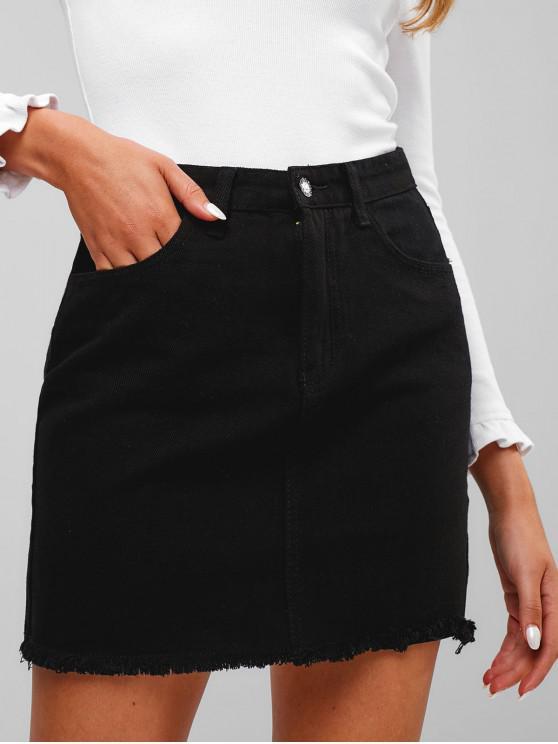 new Frayed Hem Pocket Denim Skirt - BLACK M